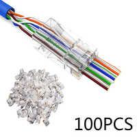 100 piezas RJ45 red Modular Plug 8P8C CAT5e Cable conector extremo pasar a través de gato 5E agujero de cristal cabezas