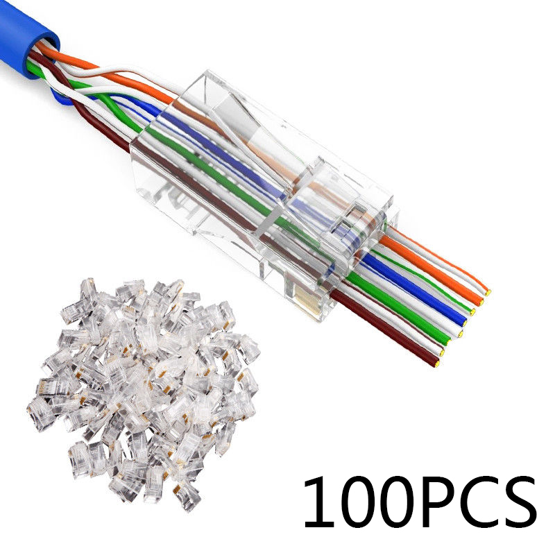 100Pcs RJ45 Network Modular Plug 8P8C CAT5e Cable Connector End Pass Through CAT 5E Through Hole Crystal Heads