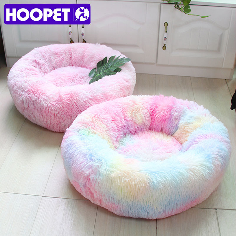 HOOPET Round Plush <font><b>Cat</b></font> <font><b>Bed</b></font> <font><b>House</b></font> Soft Long Plush <font><b>Cat</b></font> <font><b>Bed</b></font> Round Pet Dog <font><b>Bed</b></font> For Small Dogs <font><b>Cats</b></font> Nest Winter Warm Sleeping <font><b>Bed</b></font> image