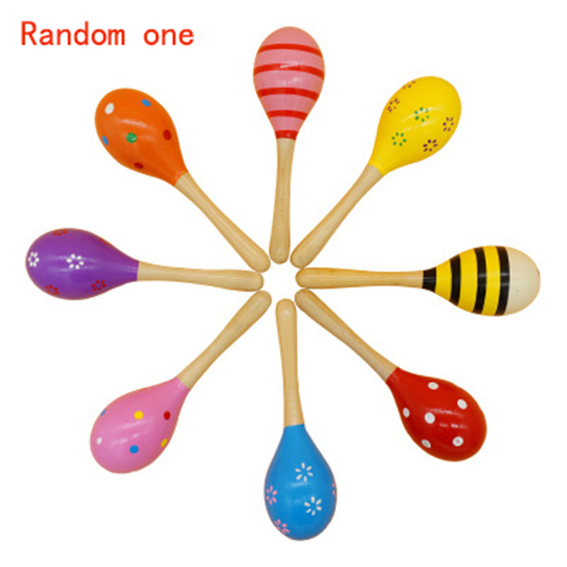 About 11cm Montessori Educational Wooden Toy Rattles Musical Instrument Wooden Sensory Mathematics Jigsaw Toy Development Toys
