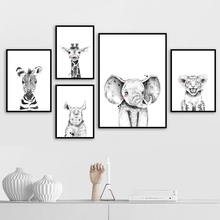 Elephant Rhinoceros Giraffe Lion Nordic Canvas Posters and Prints Wall Art Print Painting Cartoon Pictures Kids Room