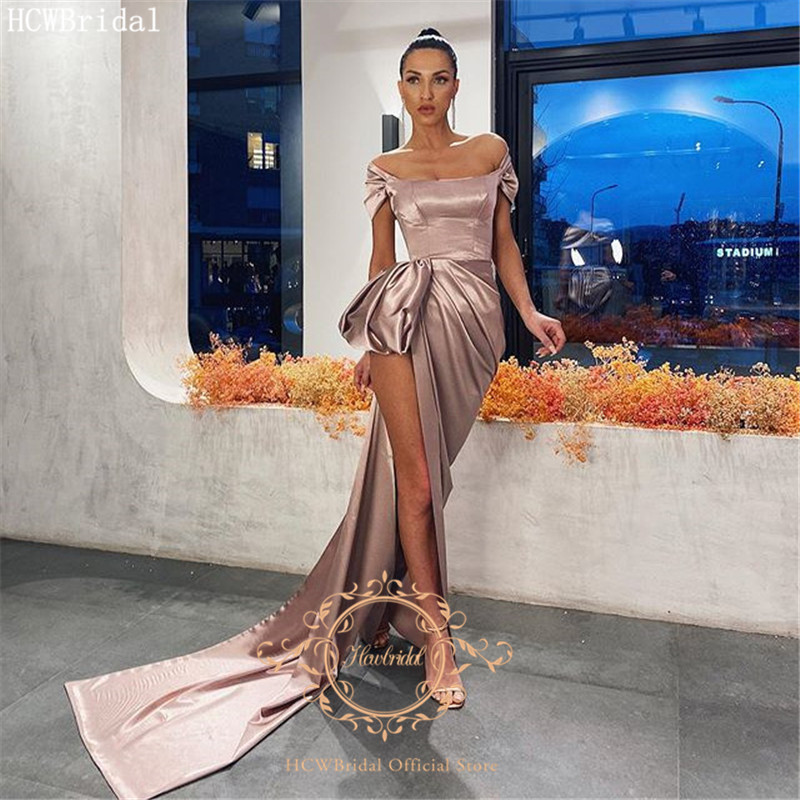 Long Sexy Prom Dresses Strapless Short Sleeves Shiny Satin Plus Size Wedding Party Dress Robe De Soiree Cheap Evening Gown