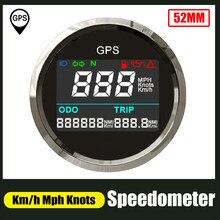 Цифровой GPS-датчик скорости 52 мм, одометр 0-999 миль/ч, регулируемый измеритель скорости из нержавеющей стали 316 для автомобилей, мотоциклов, ло...