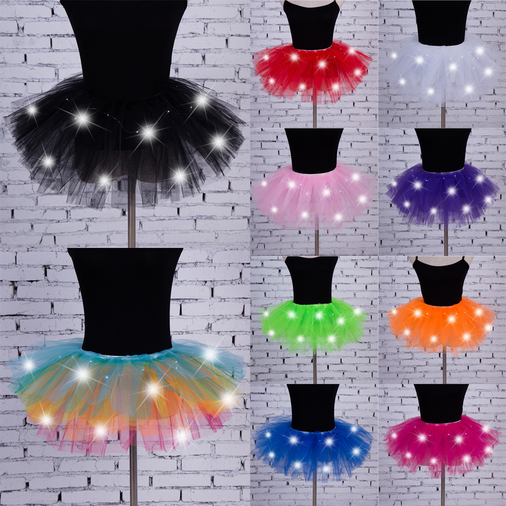 Women's Girl LED Light Up Tulle Tutu Dancing Skirt 2019 New Fashion 8 Colors Party Night Skirts Halloween Costumes Skirts Z0905