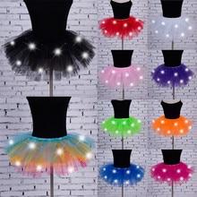 Women's Girl LED Light Up Tulle Tutu Dancing Skirt 2019 New Fashion 8 colors Par