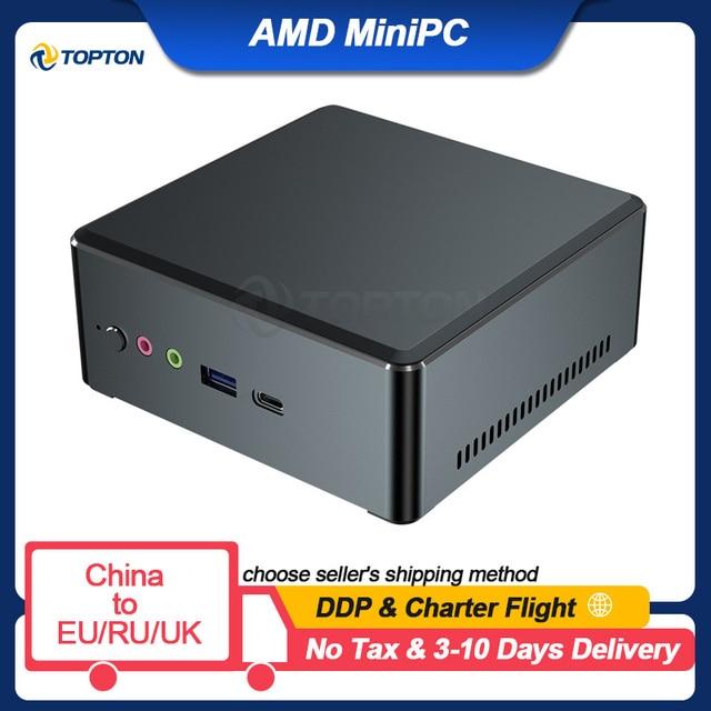 TOPTON AMD Mini PC Ryzen 7 2700U 5 3550H Athlon 3150U Vega Graphic 2*DDR4 M.2 NVMe SSD Gaming Computer Windows 10 3x4K HD WiFi 1