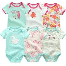 Новый комбинезон для маленьких девочек, 6 шт./Лот, летний комплект одежды с коротким рукавом и цветочным принтом для детей