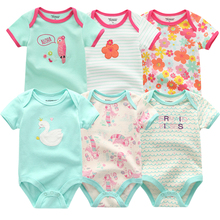 Nuevo pelele para niñas, 6 unids/lote, conjunto de ropa de verano de manga corta con estampado Floral, ropa infantil de 0 a 1 año