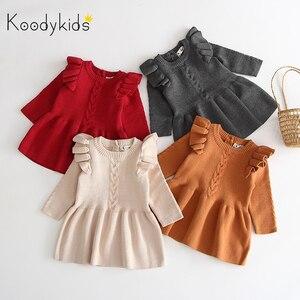 Koodykids/вязаное платье-свитер для маленьких девочек весеннее Красное вязаное платье осеннее вязаное платье для девочек от 0 до 4 лет Зимняя мод...