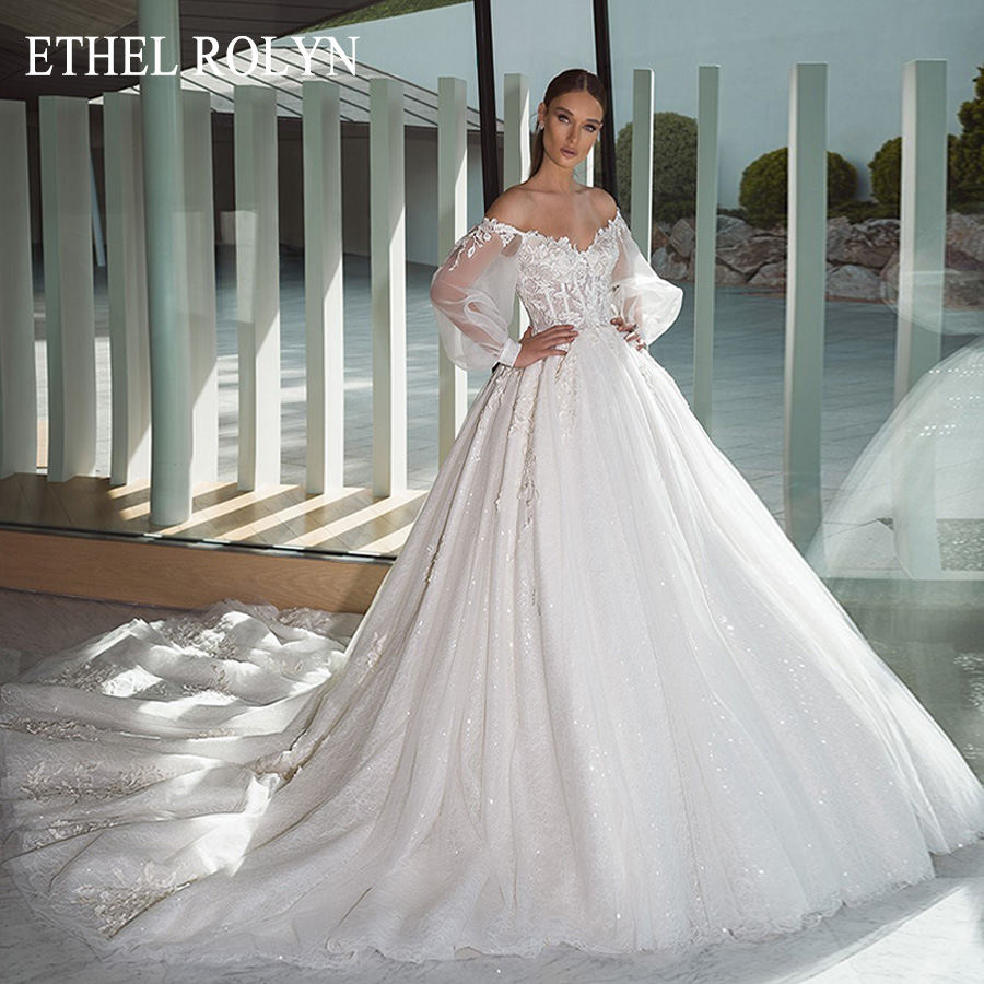 ETHEL ROLYN Sexy Sweetheart Lace Princess Wedding Dress Ball Gown Bride Dresses With Sleeves Shining Appliques Wedding Gowns