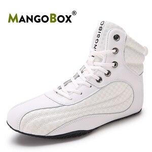 Botas de lucha Unisex para hombre y mujer, zapatos de boxeo negros, calzado de lucha antideslizante, de levantamiento de pesas, bota blanca