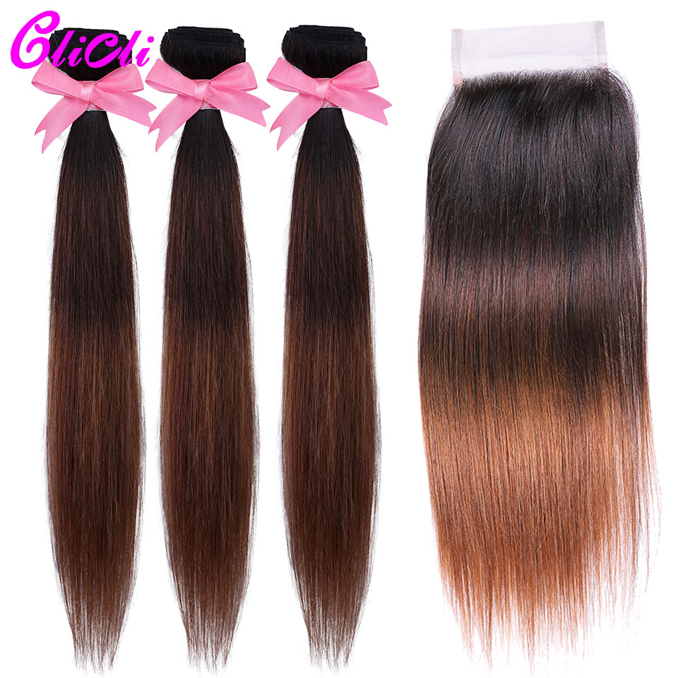 1B 4 30 Ombre Brazilian Hair Bundles With Closure 3 Tone Color Straight Human Hair Weave Bundles With 4x4 Lace Closure Non Remy