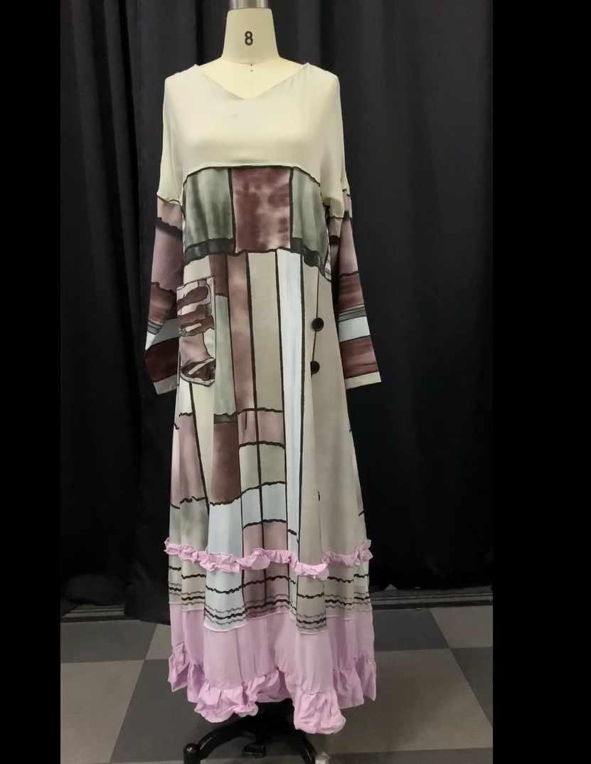 2019 新女性のドレス秋冬ヴィンテージパッチワークカジュアル長袖レトロ綿マキシローブビッグプラスドレス