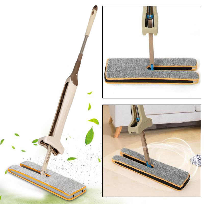 Handheld Double-sided Floor Mop Squeegee Cleaning Cloth Head Floor Ceramic Tile Flat Mop Kitchen Home Cleaning Tool