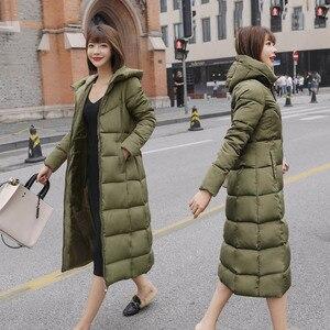 Image 2 - S 6XL autunno inverno Delle Donne Più Il formato del cotone di Modo Imbottiture giacca con cappuccio lungo Parka caldo Giubbotti Femminile cappotto di inverno vestiti