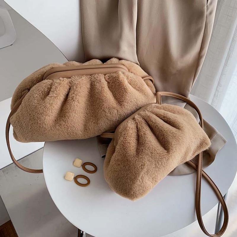 SXCNN Women Messenger Bag Autumn And Winter New Crossbody Bags For Women Soft Ladies Hand Bags Designer Cloud Clutch Small Purse