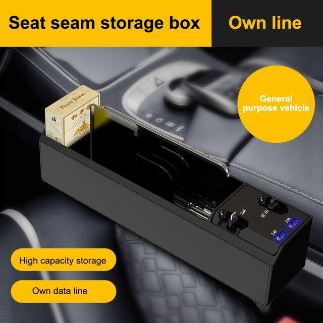 חדש רכב ארגונית עם מטען כבל רכב סיאט אחסון תיבת כבל עבור IOS/אנדרואיד/סוג C הכפול USB יציאת אוטומטי Stowing לסדר