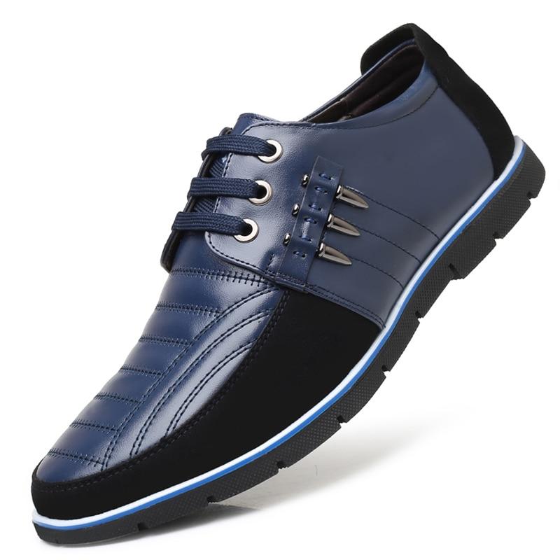 Autumn Genuine Leather Men Shoes Fashion Breathable Casual Shoes Men Lace-up Business Office Shoes Spring Flat Zapatos De Hombre