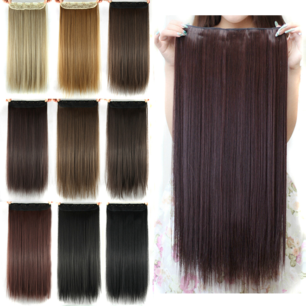 Soowee Long Straight Women Clip in Hair Extensions Black Brown High Tempreture Synthetic Hair Piece(China)