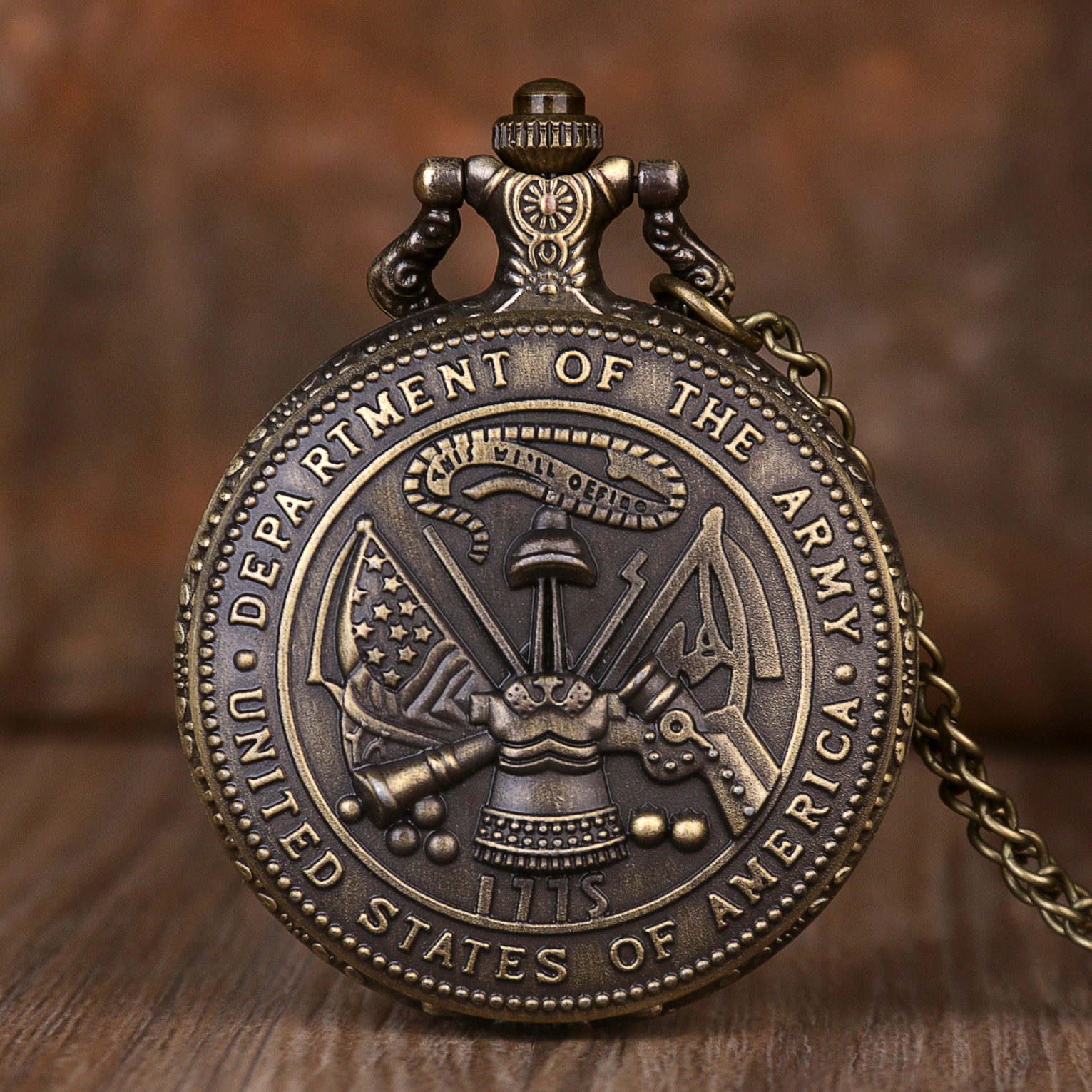 Vintage The United State Of America Department Of The Army Quartz Pocket Watch With Chain Necklace Pendant Retro Pocket Watches