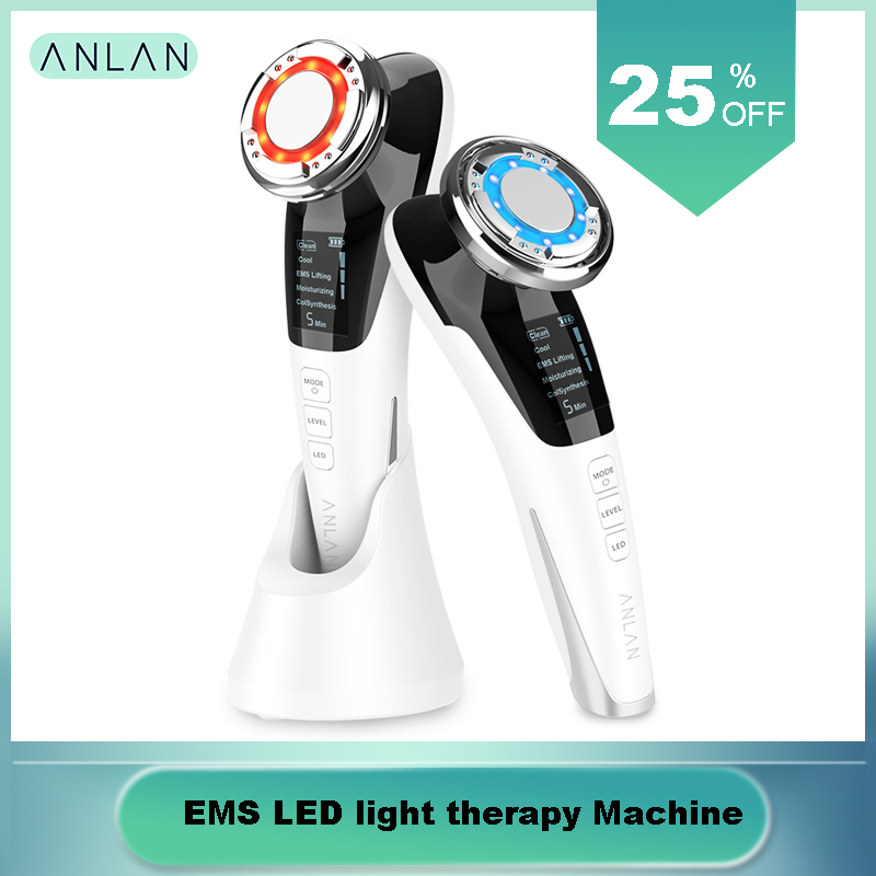 EMS LED Light Therapy Sonic Vibration Wrinkle Remover Facial Massage With ION And Photon Function Hot Cool Treatment Face Care