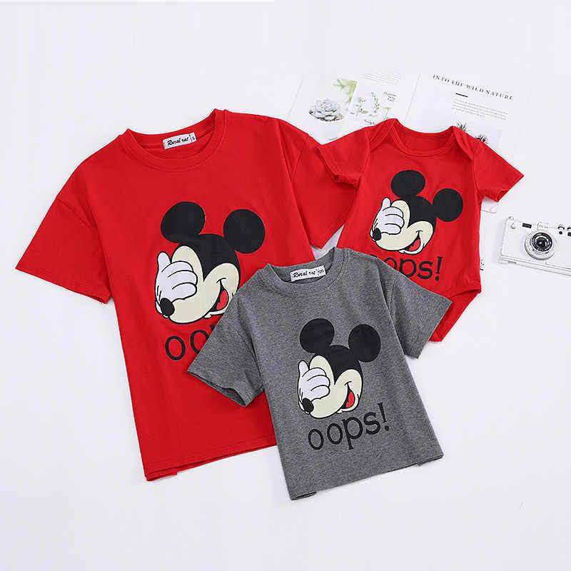 สำหรับครอบครัวการจับคู่ชุดเสื้อผ้าการ์ตูนพ่อแม่สาวเสื้อยืด Daddy Mommy Me Baby BOY GIRL CL288