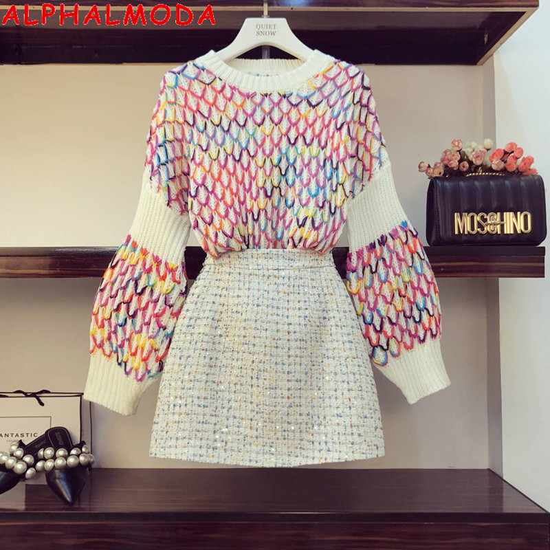 ALPHALMODA 2019 Winter Women Colorful Knitting Sweet Sweater Jumper + A-line Mini Skirt 2pcs Fashion Suit S-L