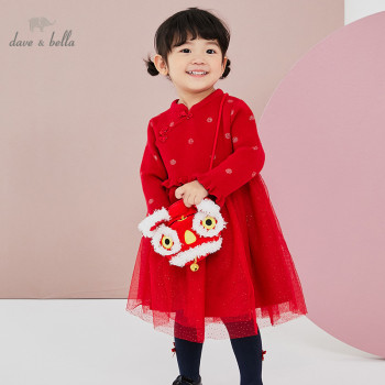 DBW16949 dave bella winter baby girl's Christmas dots sweater dress children fashion party dress kids infant lolita clothes image