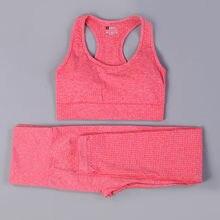 Sexy Sports Suits Seamless Yoga Set Women Fitness Clothing Sportswear Woman Gym Leggings Padded Push-up Strappy Sports Bra