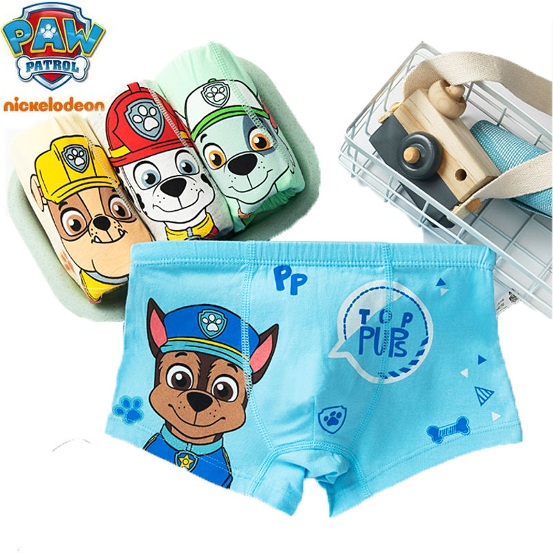 2020 New 4Pcs/bag Original Paw Patrol Underwear Chase Rubble Everest Skye Kids Panties Children Cotton Underpants Plush Toy Doll