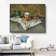 Cassisy Canvas Oil Painting《Still Life with Apples, Cup and Jar》 Paul cezanne Poster Wall Decor Home Decoration For Living room cezanne
