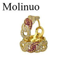 Molinuo 23mm Popular hoop Earrings With color CZ link chain desgin Circle Earrings fashion Big Circle Earrings For Women цена