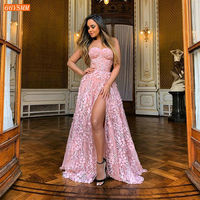 Sexy African Pink Evening Dresses Long Lace Side Slit A Line Evening Gown Cheap Arabic Formal Women Birthday Party Gala Dress