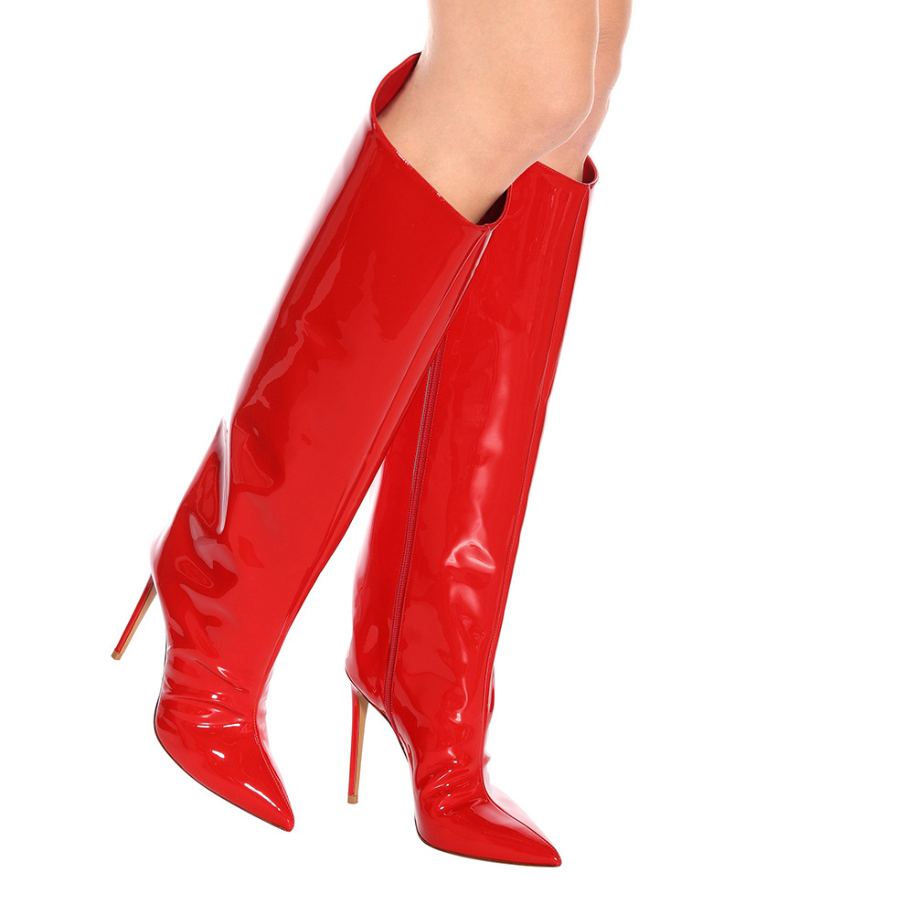 Women's Long Boots Patent Leather High-heeled Knee High Boots Zip Pointed Toe Thin Heels Motorcycle Boot Rome Shoes Woman Botas