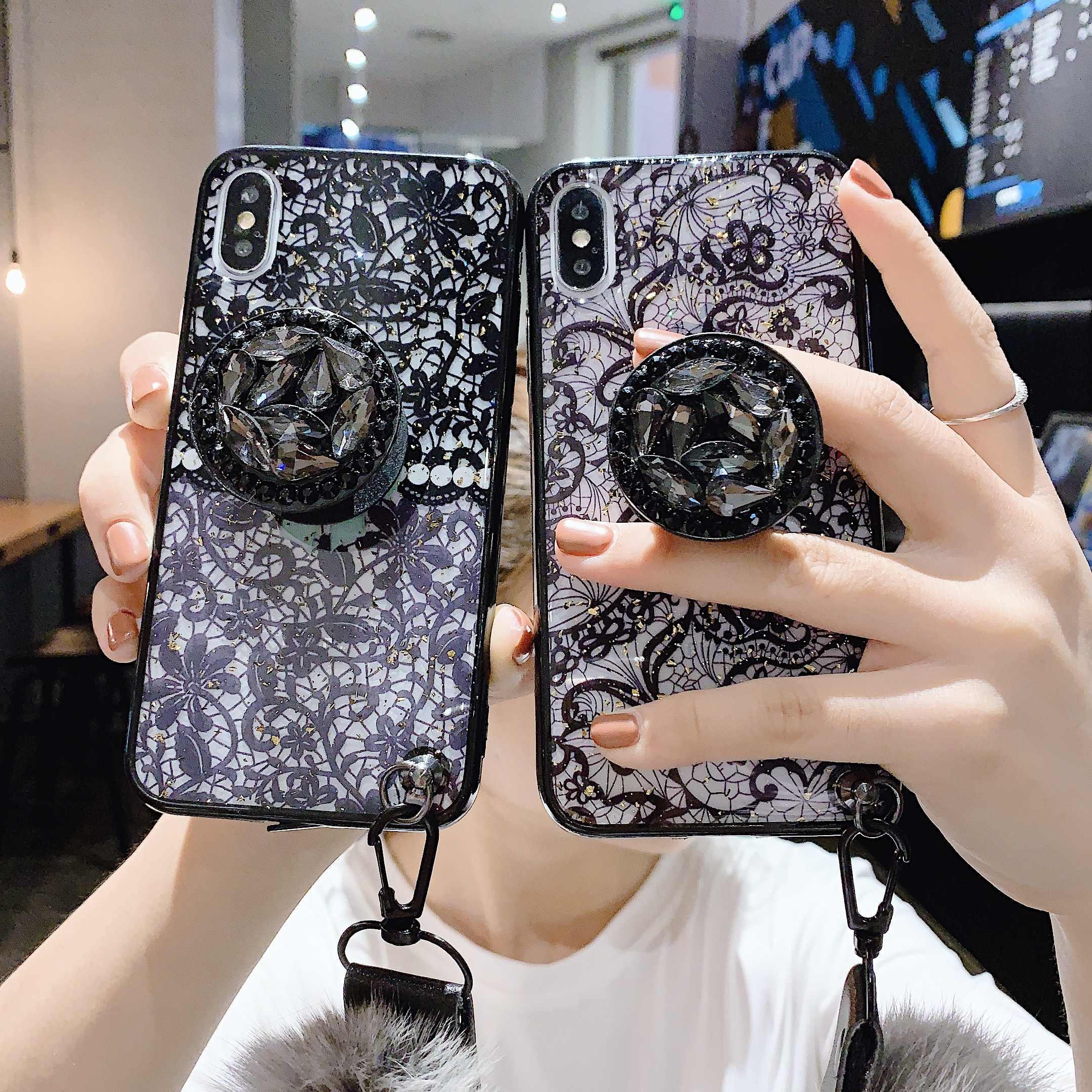 11ProMAX держатель Стенд мягкий меховой шар ремень Кружева чехол для iPhone 11 Pro MAX 6 6splus 8Plus 7 Plus XSMAX XR XS Мягкий ТПУ чехол для телефона