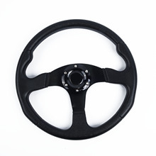Car Steering Wheel Black 14 inch 350mm Stitching Leather Racing OMP Drifting Rally modified 2018 Sale