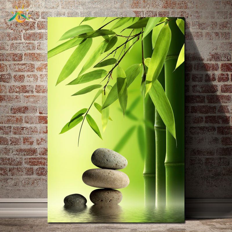 Still Life Printed Canvas Painting Bamboo and Stone Posters and Prints Pop Art Scroll Frame Art Wall Pictures  for Living Room