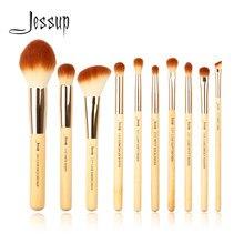 Jessup escovas 10 pçs bambu pincéis de maquiagem profissional conjunto beleza compõem kit de ferramentas fundação em pó definer shader forro
