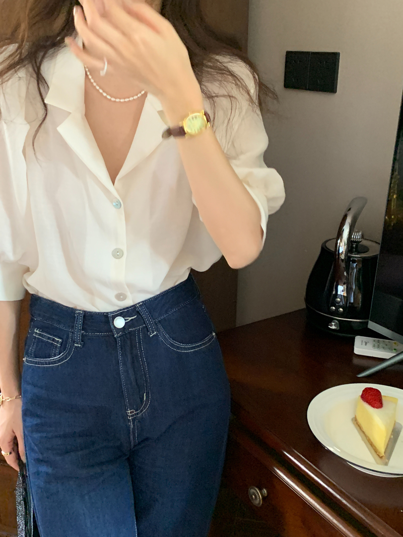 Hddc0347194cb42c9b82dba4417471630w - Summer Notched Collar Short Puff Sleeves Minimalist Buttons Blouse