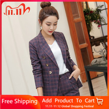 High quality professional womens suits large size S 4XL 2019 autumn and winter new slim full sleeve blazer Slim trouser suitPant Suits