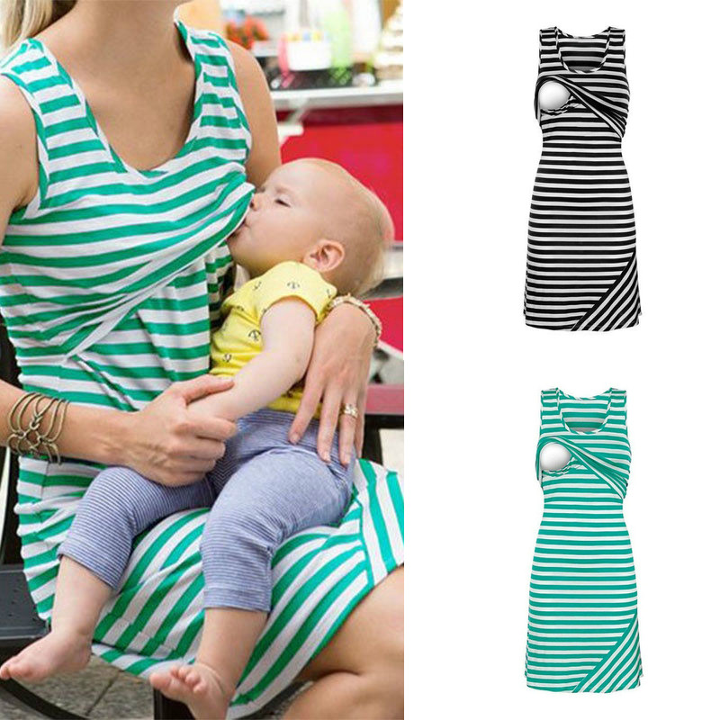 Pregnant Women Casual Breastfeeding Nursing Dress Sleeveless Loose Striped Pregnancy Maternity Long Dresses