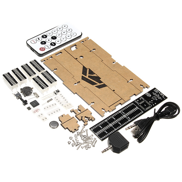 Dual Channels 30 Segments Volume UV Table Remote Control DIY Electronic Clock Music Spectrum Kit
