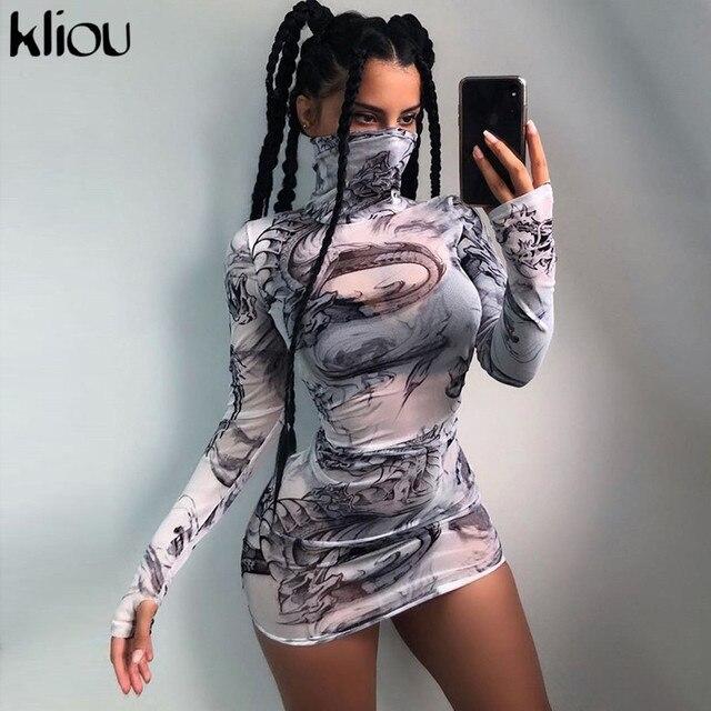 Women turtleneck dress sexy mesh material print slim skinny dresses autumn new long sleeve female fashion skinny outfits 1