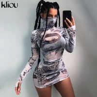 Kliou women turtleneck dress sexy mesh material print slim skinny dresses autumn new long sleeve female fashion skinny outfits