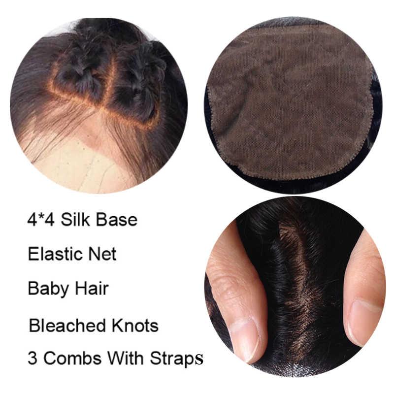 4*4 실크베이스 레이스 전면 인간의 머리카락 가발 흑인 여성을위한 아기 머리 인도 레미 스트레이트 인간의 머리 가발 표백 매듭