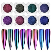 Chrome Mirror Powder Nail Art Glitter Chameleon Pigment Powder Manicure Nail Tips Decoration Accessories Gel Polish Dust  I035 wsryxxsc chameleon nail magic mirror pigment powder chrome flash powder manicure diy