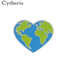 creative green earth heart unisex pins brooches fashion new label accessories Protect the earths ecology jewelry
