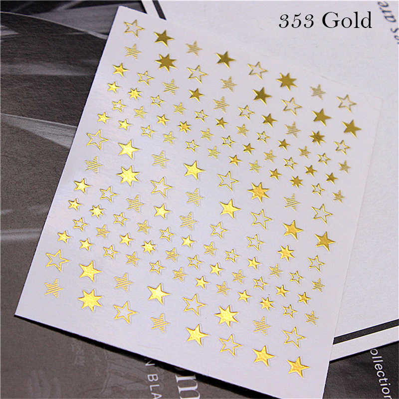 1 Pcs 3D GOLD/Rose Gold/Sliver Star Designs Nail Art สติกเกอร์ Charm ออกแบบกาวเคล็ดลับ Transfer Sliders ตกแต่งใหม่