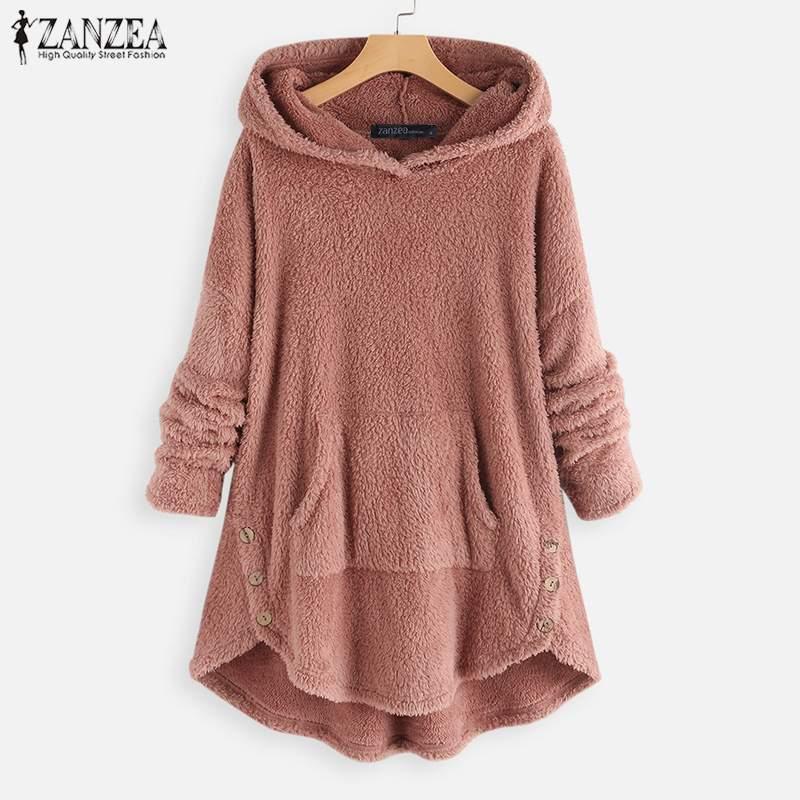 2019 ZANZEA Pullover Women Hooded Fleece Sweatshirts Autumn Casual Hoodies Long Sleeve Plush Fluffy Warm Jumper Femme Robe Tops
