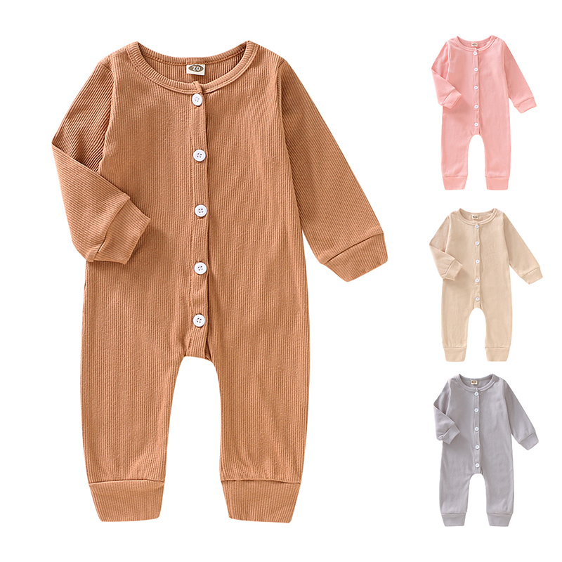 New Children Autumn Clothing Cute Newborn Infant Baby Boy Girl Solid Romper Long Sleeve Jumpsuit Outfits Cotton Soft Clothes